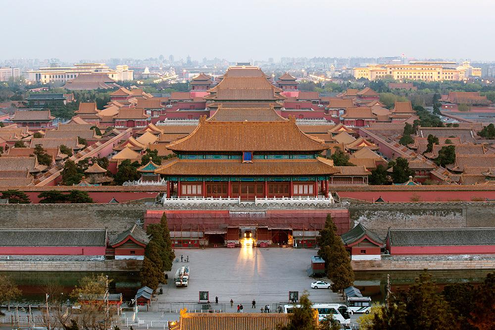 Вид из парка Цзиншан на центр Пекина — так называемый Запретный город