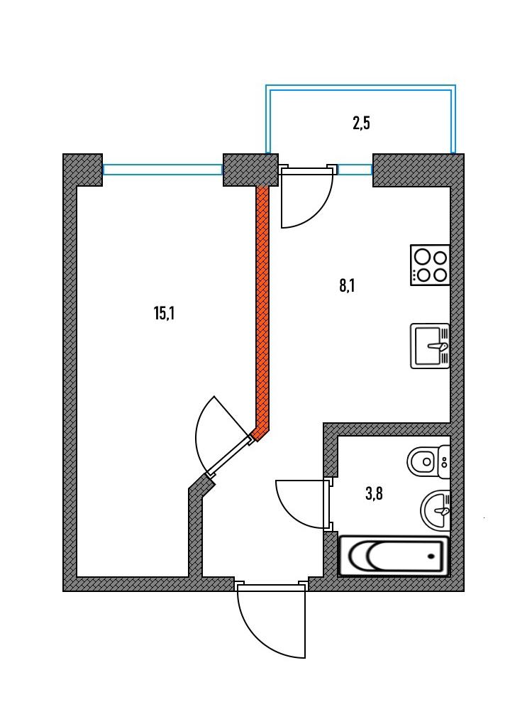 Я выделила оранжевым стену, благодаря которой это полноценная однокомнатная квартира