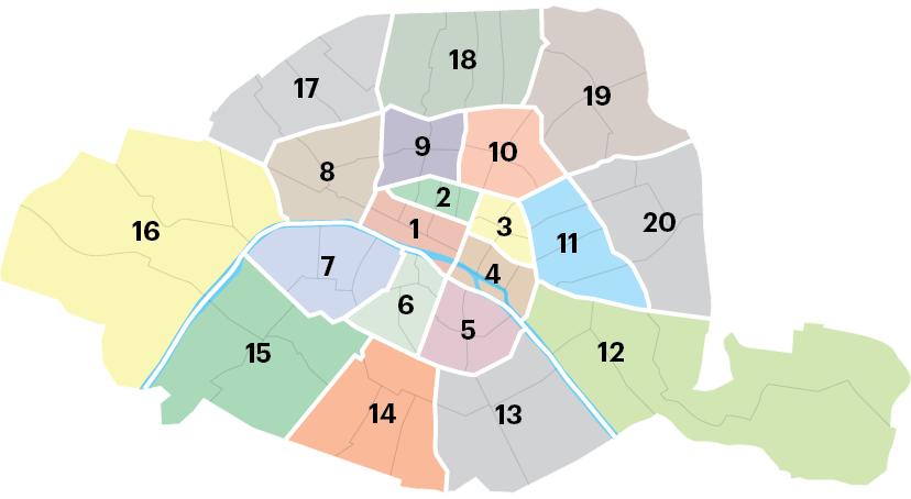 Схема округов Парижа