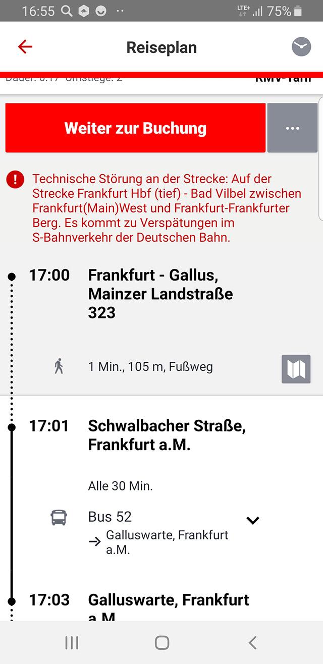 Я проверяю свои маршруты через приложение Deutsche Bahn — это немецкий аналог РЖД. Красный текст предупреждает об очередных технических неполадках на линии