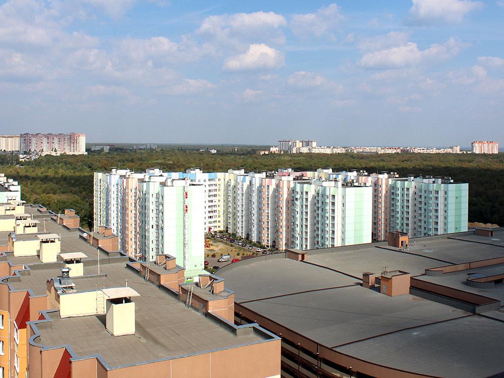 Вид с 17-го этажа дома, в котором я живу. Лес на фото — одна из причин, почему я живу именно в районе Дубравы. До этого леса идти 2 минуты, а гулять по нему можно часами