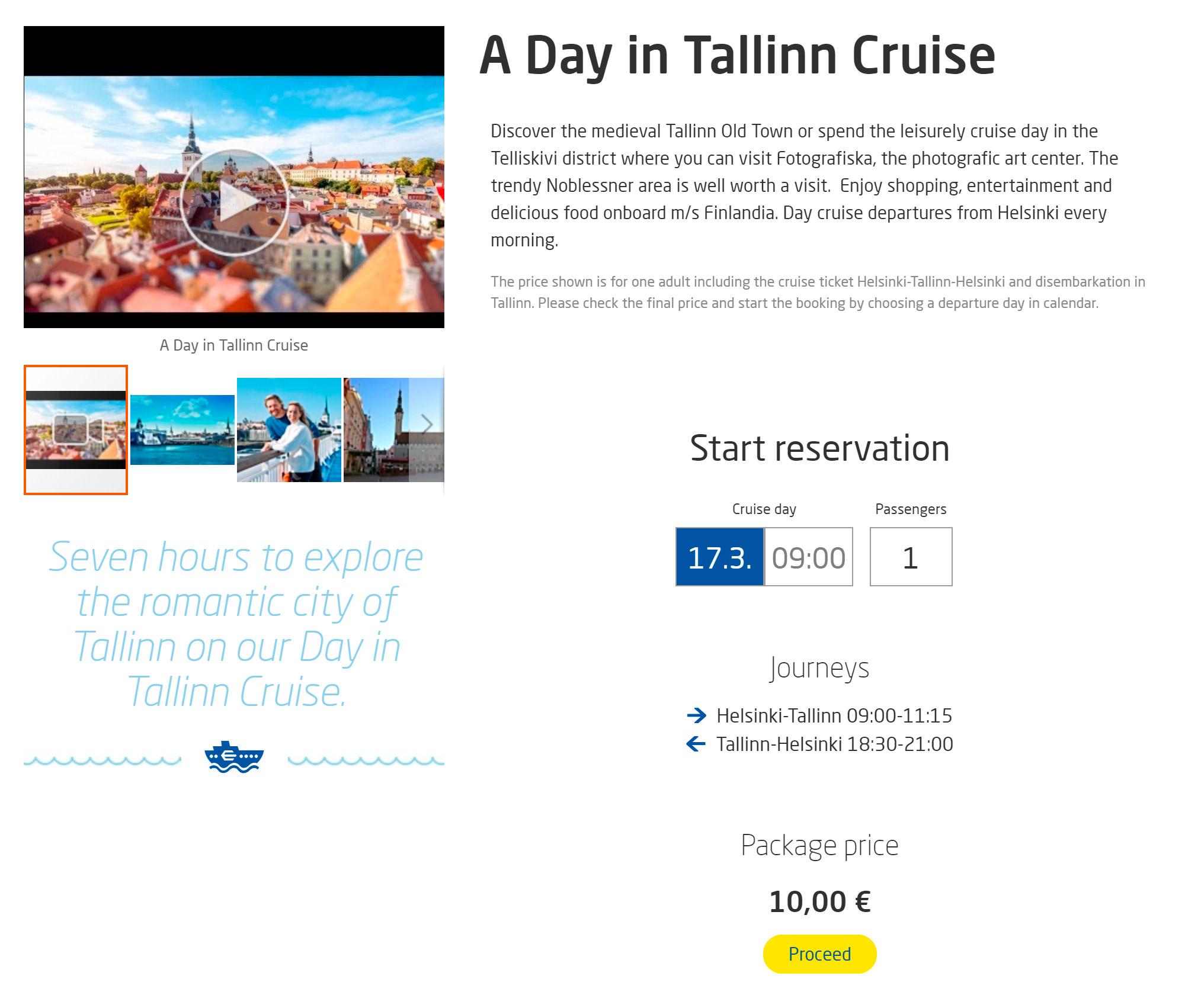 У «Экеро» почти всегда есть предложения по 10€ (690<span class=ruble>Р</span>) в одну сторону или по 12€ (828<span class=ruble>Р</span>) за мини-круиз в Таллин