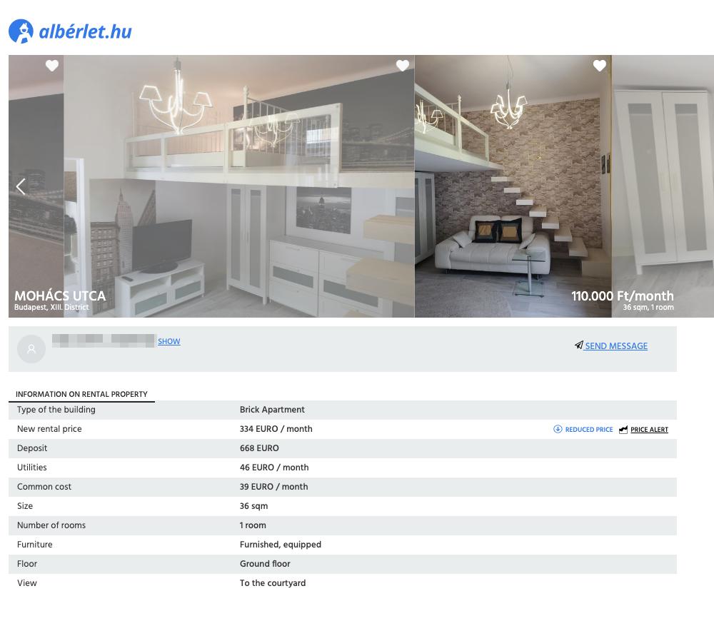 Квартира в трех остановках от центра за 110 000 Ft (24 200<span class=ruble>Р</span>) в месяц