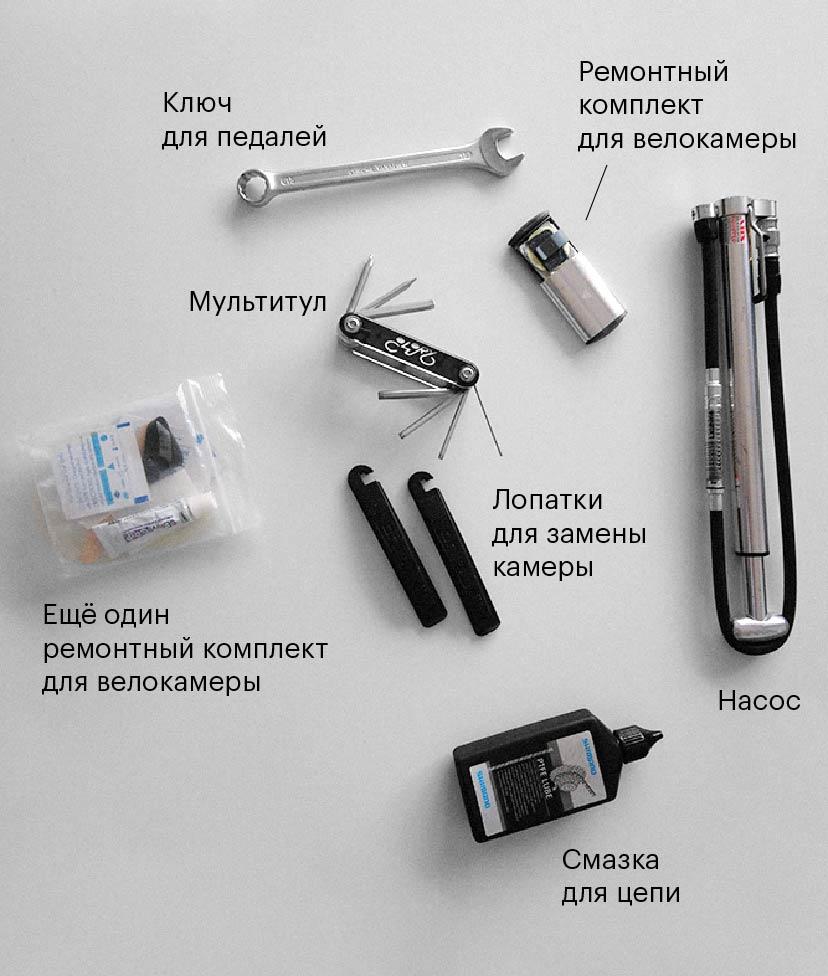Мой набор инструментов для путешествия. Все это продается в веломагазинах