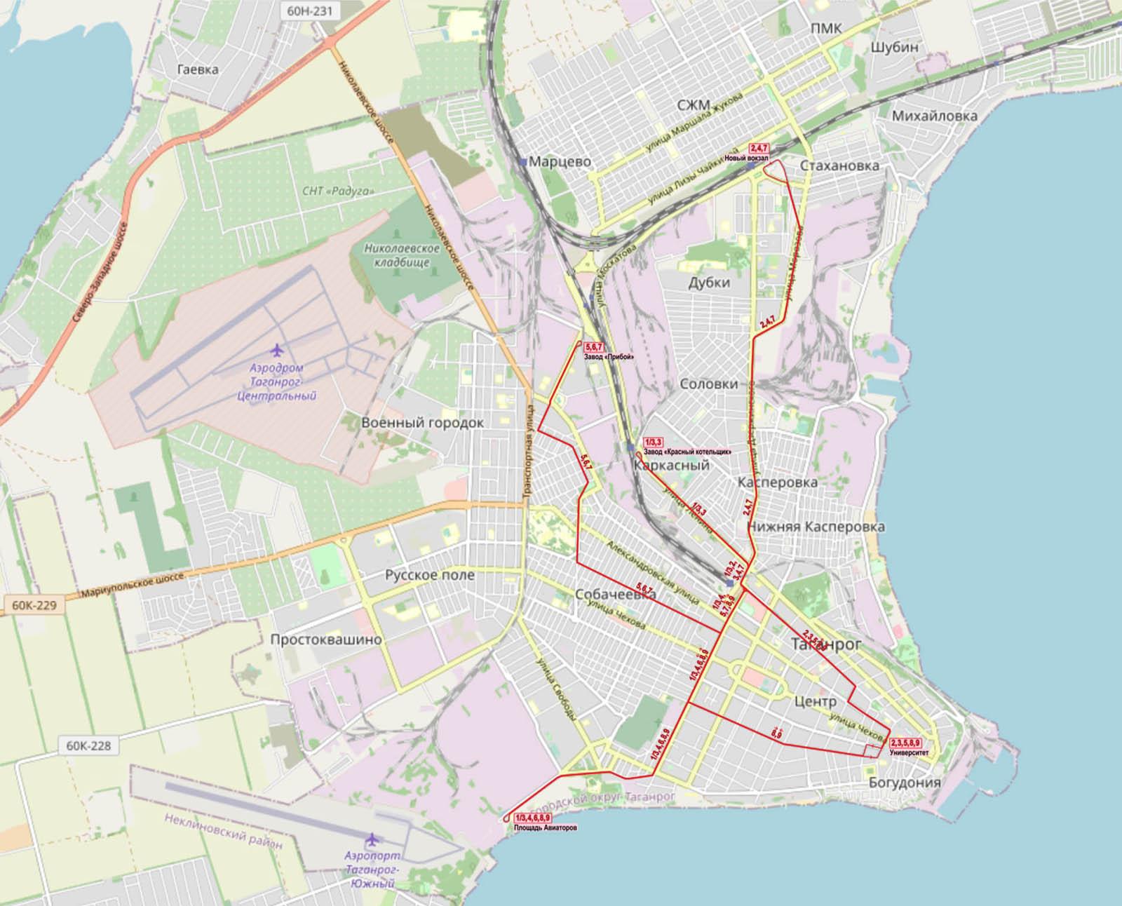В Таганроге девять трамвайных маршрутов — на карте они выделены красным. На трамвае можно добраться до Старого и Нового вокзалов, исторического центра, радиотехнического университета и крупных предприятий