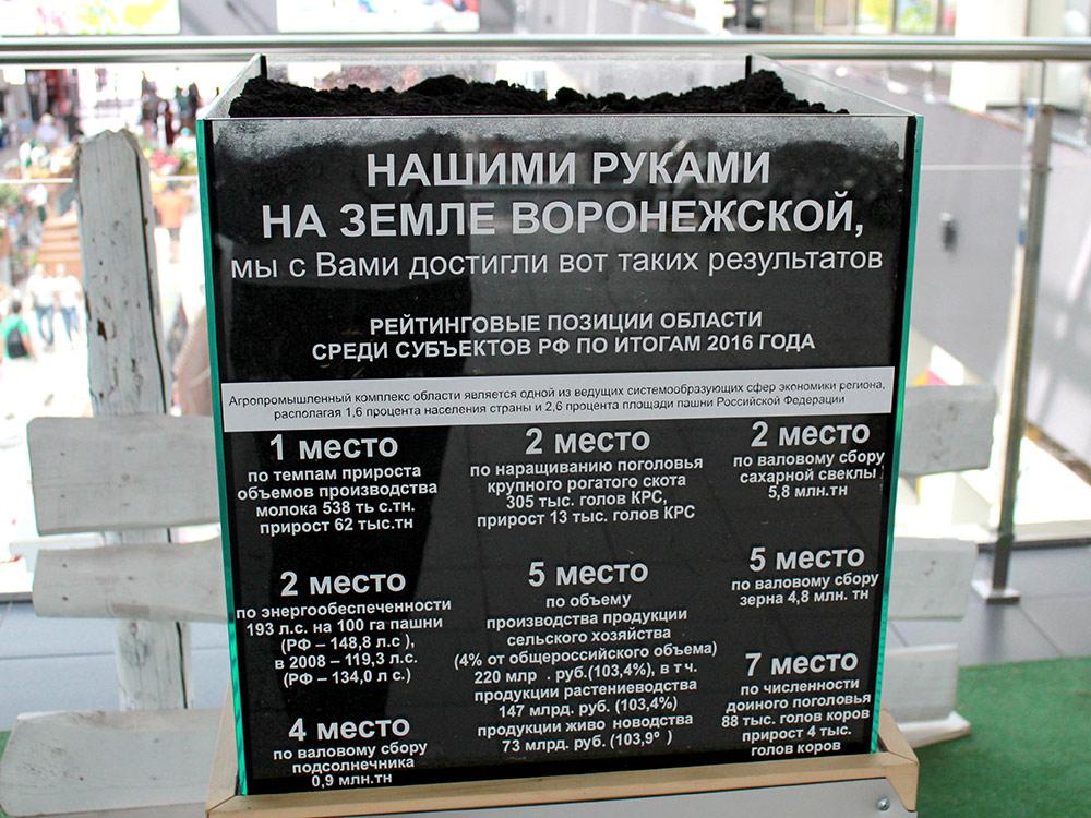 Образцы воронежского чернозема на Центральном рынке и информация об успехах области