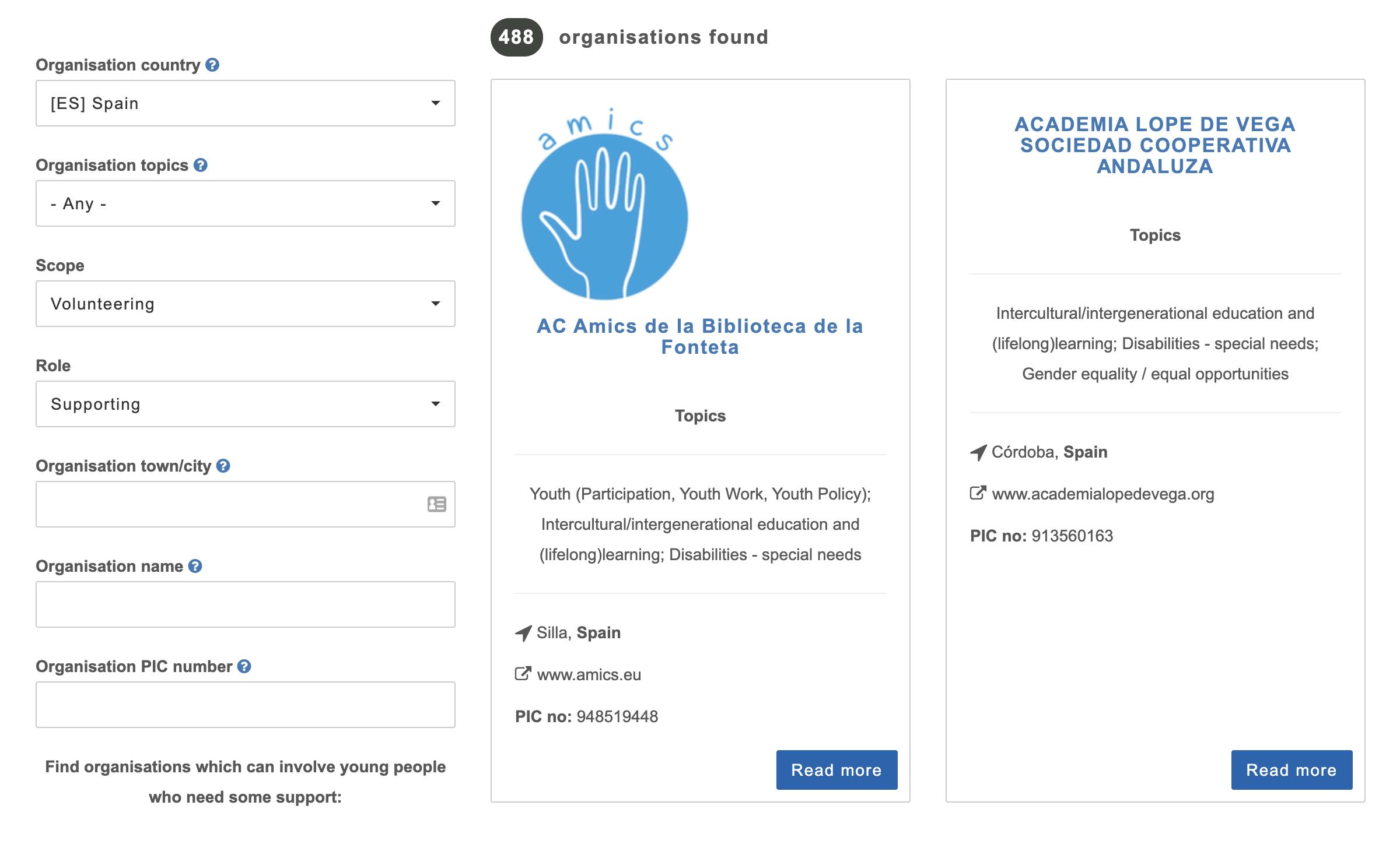 488 таких организаций можно найти в Испании