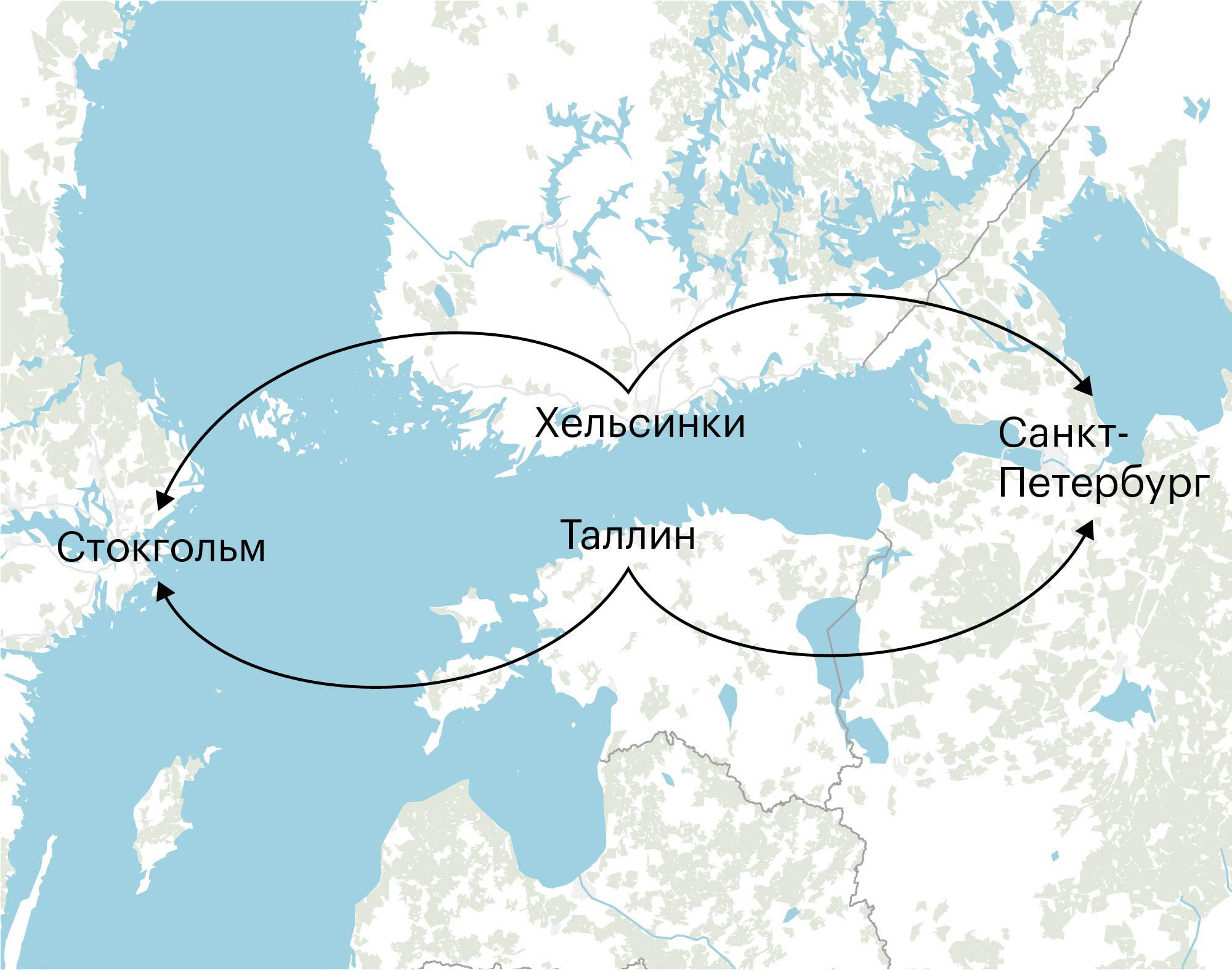 По пути в Стокгольм паромы из Санкт-Петербурга делают остановку в Хельсинки и Таллине