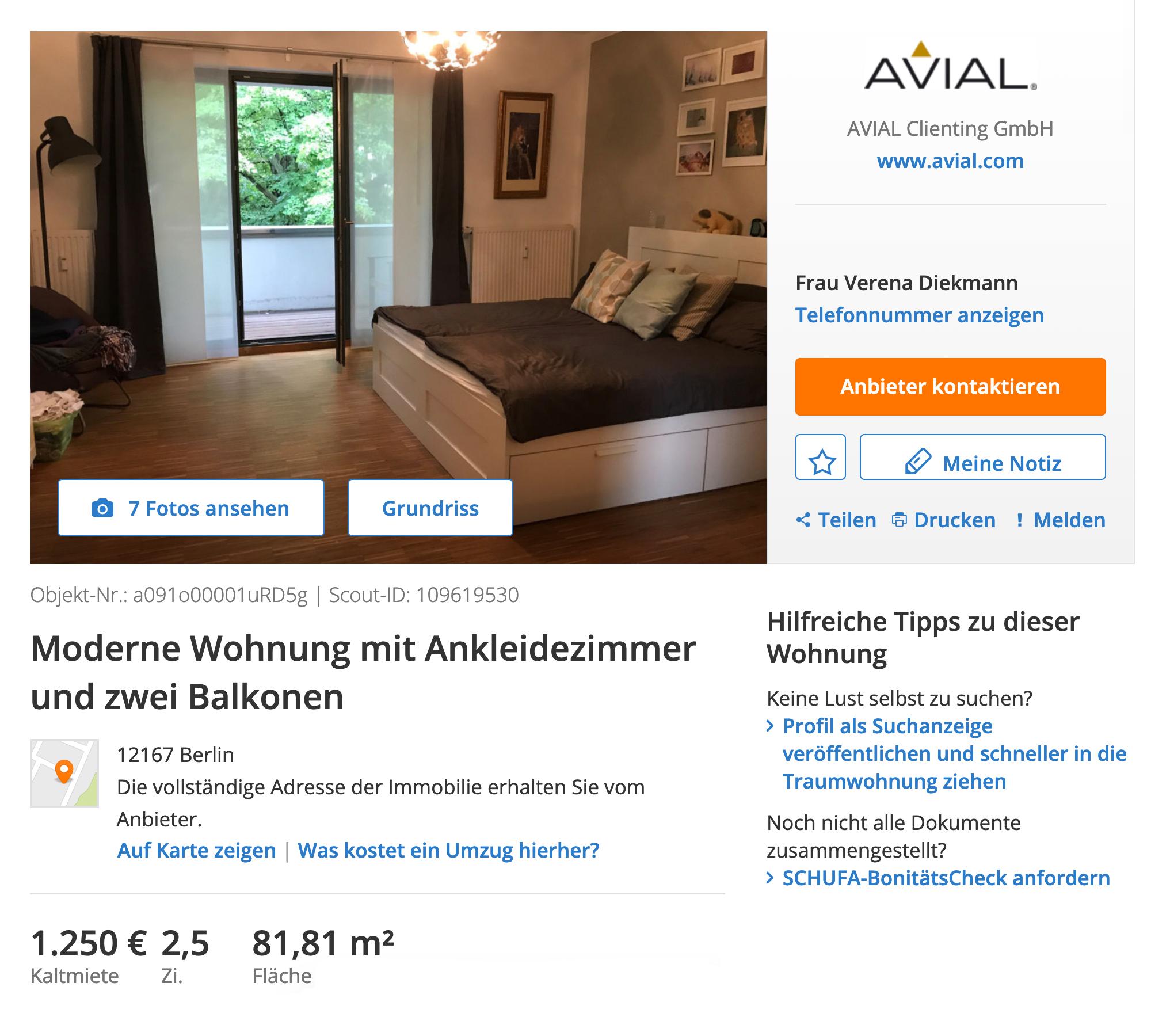Квартира в отдаленном районе Штеглиц-Целендорф за 1250€ (93 250<span class=ruble>Р</span>) в месяц