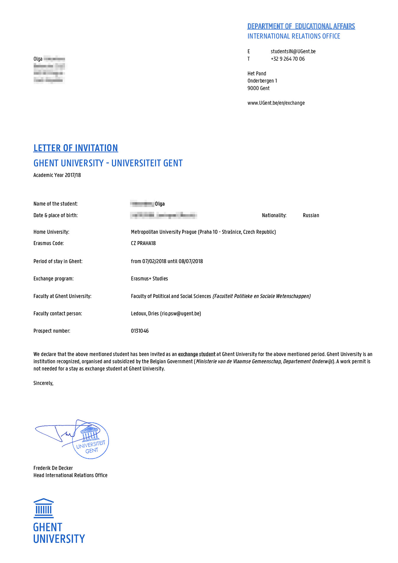 Приглашение от Гентского университета