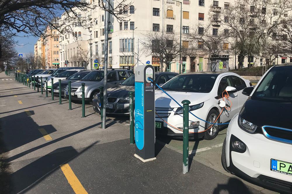 Машины с зелеными номерами — это электромобили. Чаще всего в Будапеште они принадлежат каршеринговому сервису