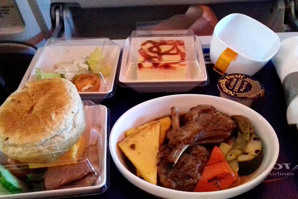 Путешествие комфорт-классом: еда уже из бизнеса, но подача все еще в пластике, кроме приборов — они стальные