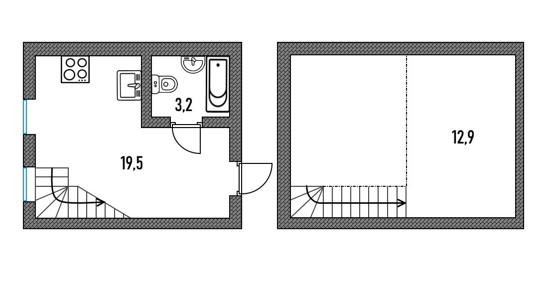 Пример планировки двухэтажной студии. Обычно такие студии встречаются в домах старого фонда — хозяева оборудуют студию в комнате коммунальной квартиры. Чтобы уместить санузлы, комнату и кухню, надстраивают второй этаж. В новостройках такие предложения редкость