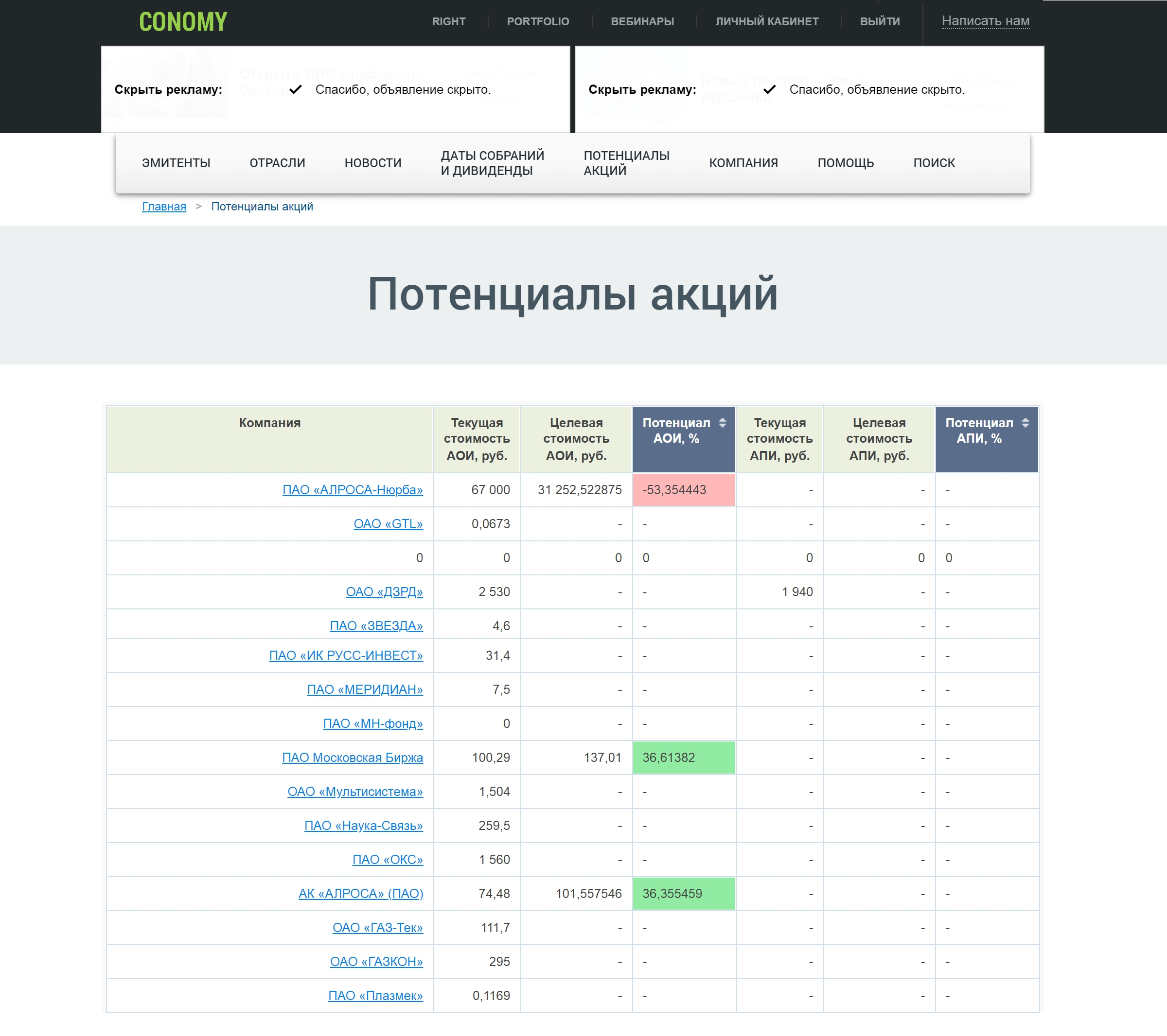 Интерфейс «Кономи»