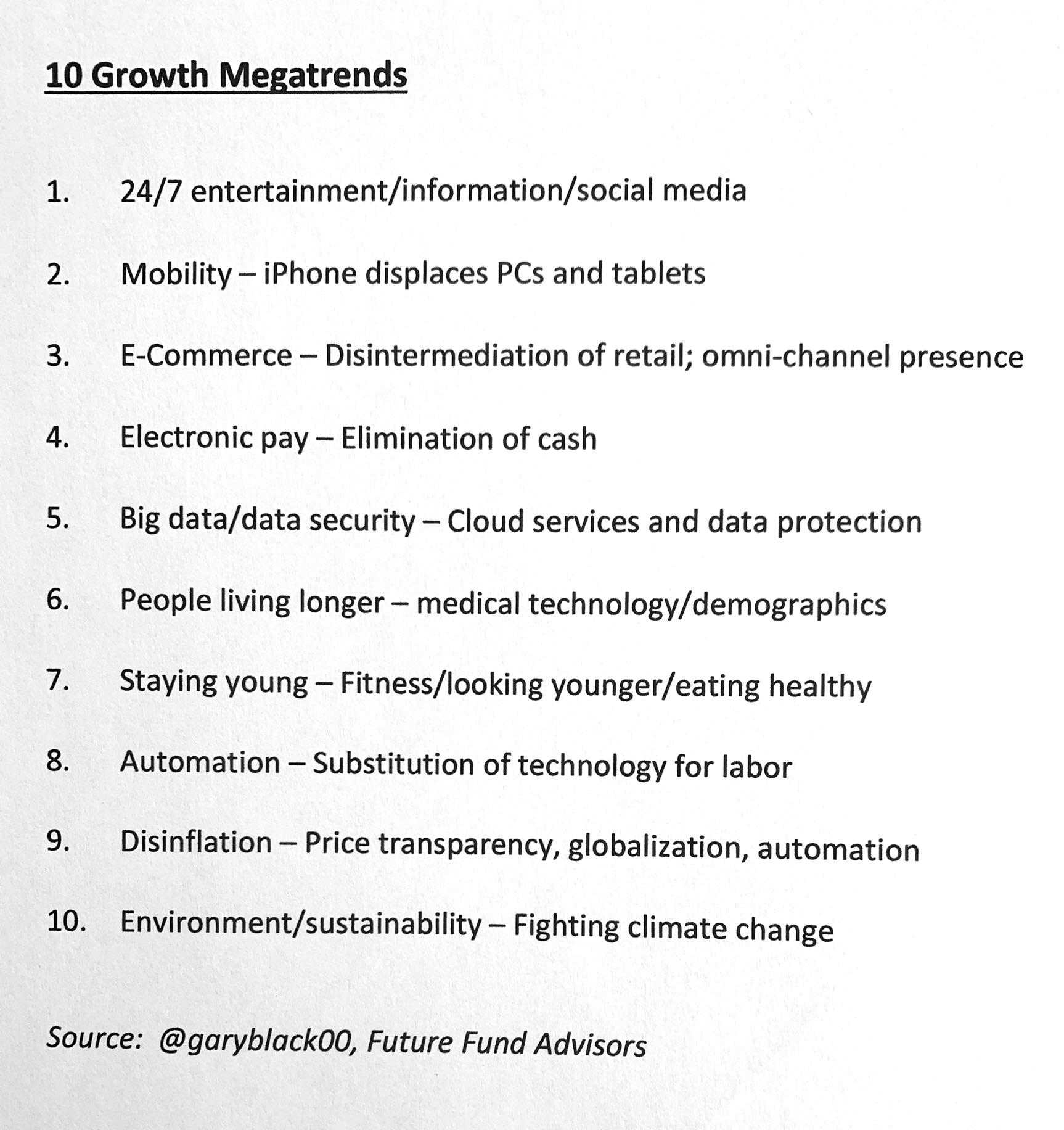 Гари Блэк — директор по информационным технологиям подразделения акций Goldman Sachs 5октября 2020года написал в твиттере, что он ориентируется на 10мегатенденций будущего, которые могут изменить мир. Если компанию можно отнести более чем к одной перспективной отрасли, у нее хорошие фундаментальные характеристики и справедливая цена, то из нее может получиться компания роста