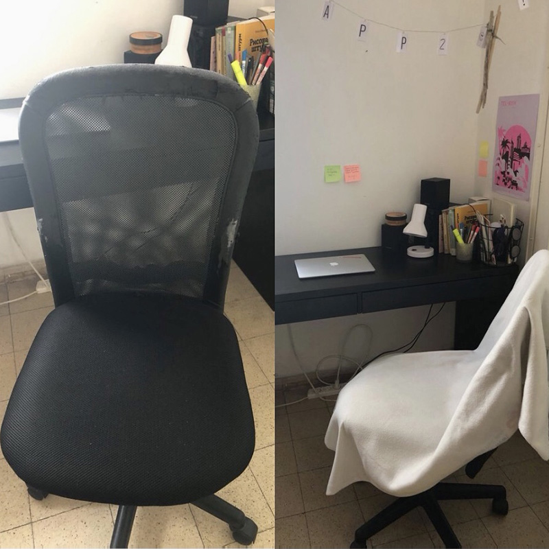 Офисный стул на колесиках достался мне за 20 ILS, то есть почти бесплатно. На нем была немного потерта кожа, но я легко это скрыла, набросив на стул плед
