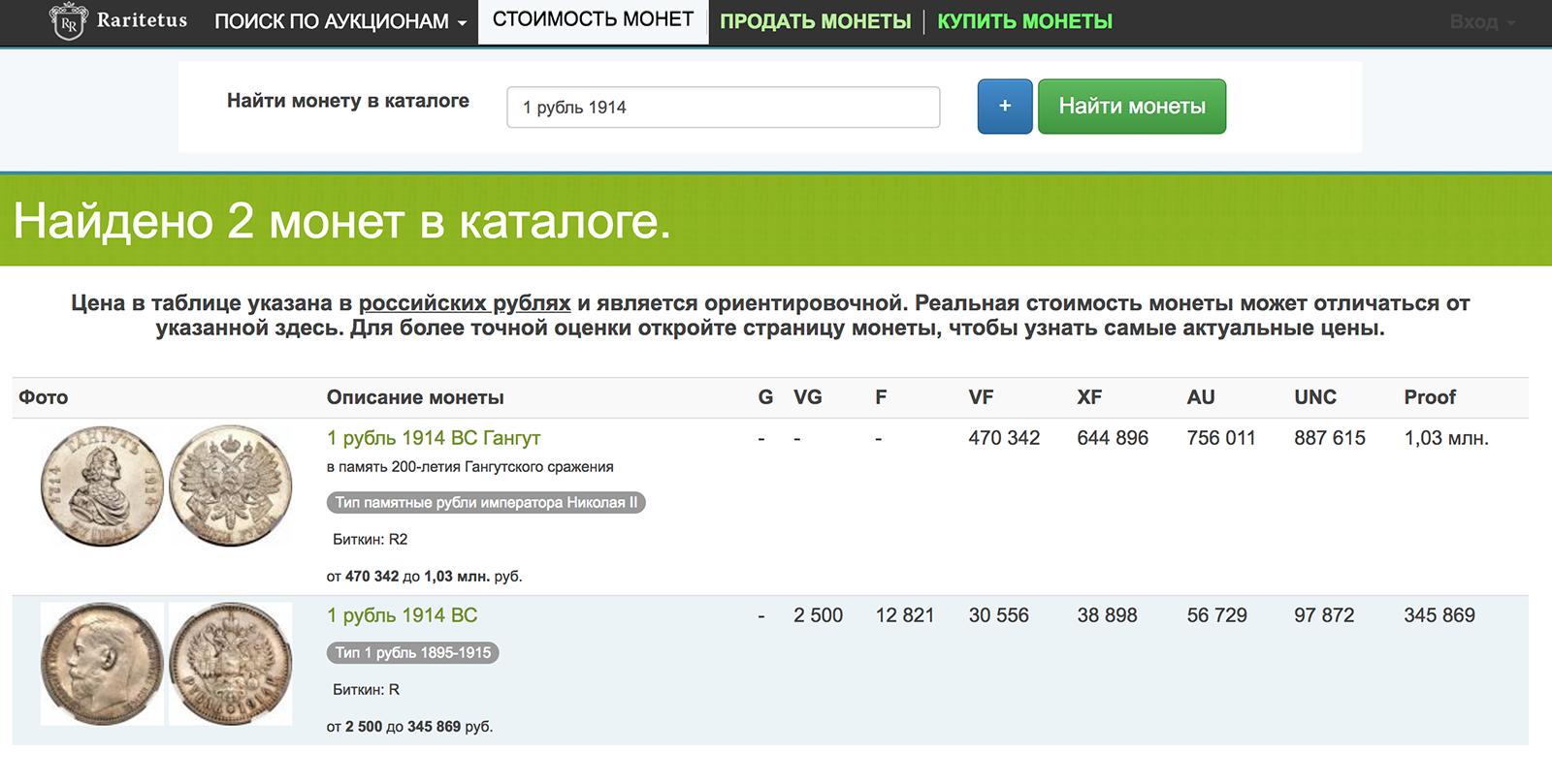 В разделе «Стоимость монет» пишем номинал и год монеты. Например: «1 рубль 1914»