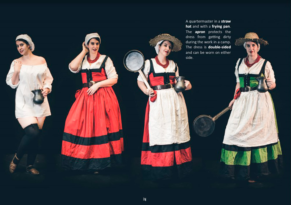 Девушка всоломенной шляпе ифартуке. Платье двустороннее, поэтому его можно носить любой стороной. Источник: сайт «Цвайхандер»