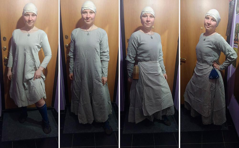 Моя людская одежда целиком. Так я ходила на крымском «Ведьмаке», когда снимала костюм монстра катакана. Это костюм кметки — крестьянки. На мне средневековые чулки — шоссы, камиза — нательное белье, обувь — поршни, чепец на голове. Котта — средневековая туникообразная верхняя одежда с узкими рукавами — у меня скорее фантазийная, не исторически точная. Поверх котты надет фартук, на талии фляга и омоньер — средневековый поясной кошель