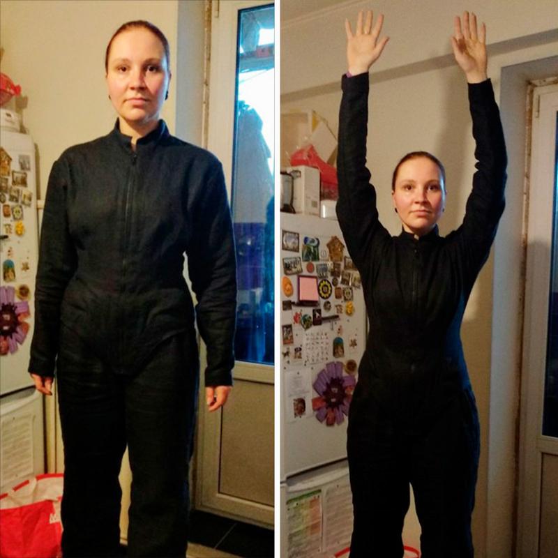 Пример тканевой базы подкостюм монстра. Обычно я сама шью спортивную куртку и штаны из плотного натурального льна по выкройкам из интернета. Тканевая основа нужна в том числе длятого, чтобы из-под костюма не проглядывала современная одежда, если вдруг в процессе игры верхний слой костюма порвется
