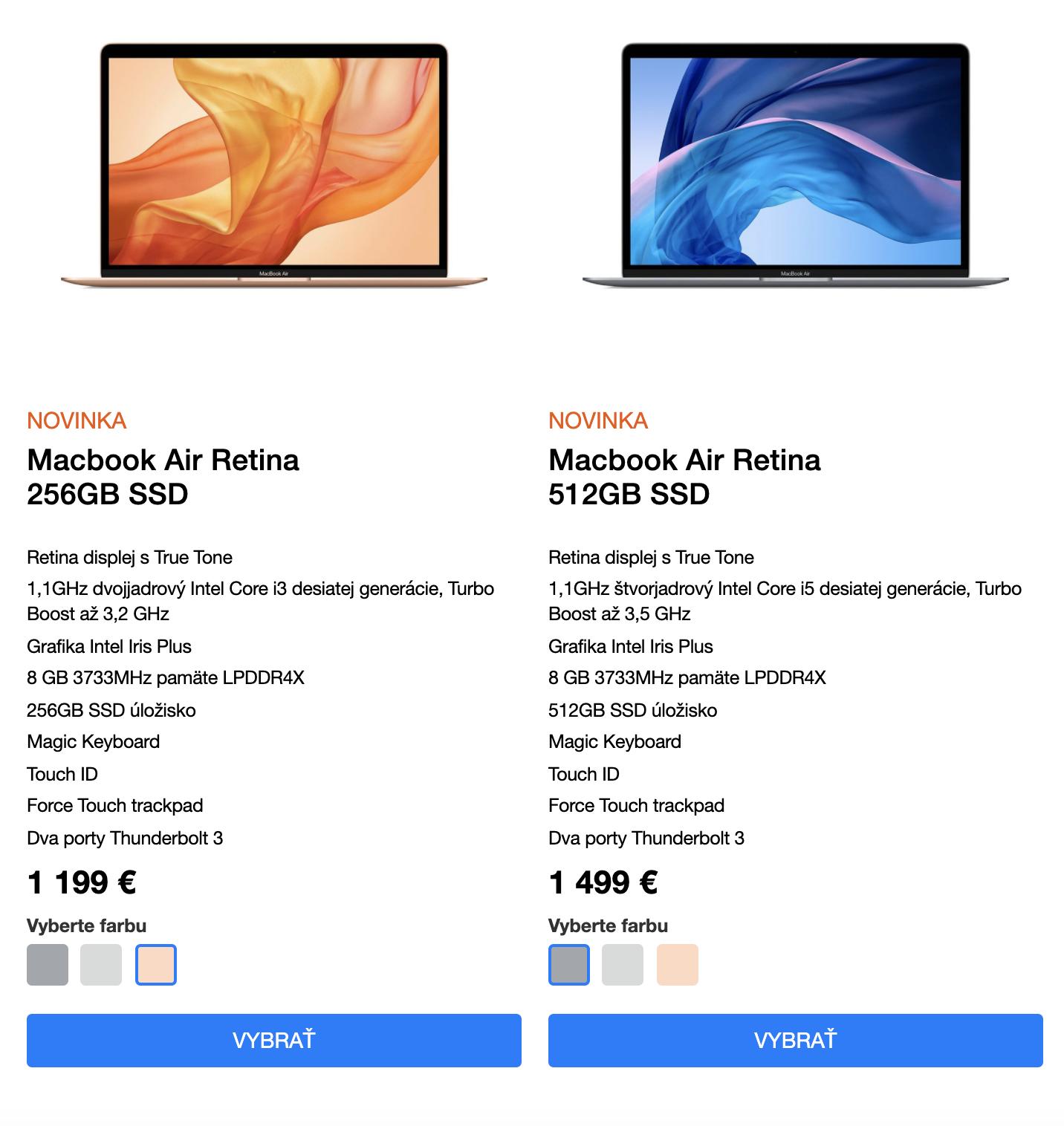 Макбук-эйр на сайте официального реселлера в Словакии стоит 1200—1500€