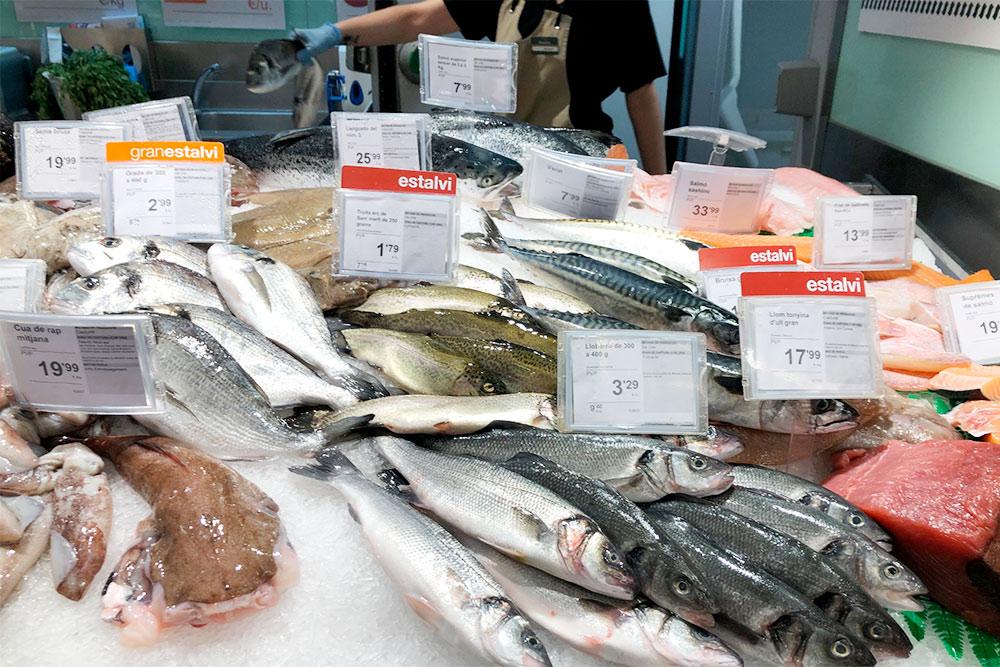 Выбор рыбы впечатляет