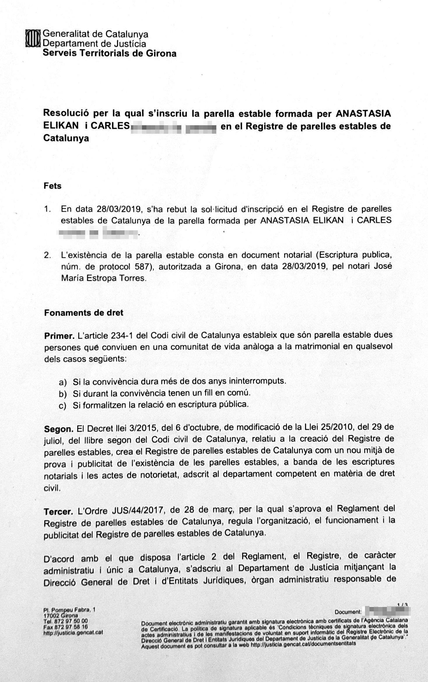 Свидетельство о заключении партнерского брака на каталанском