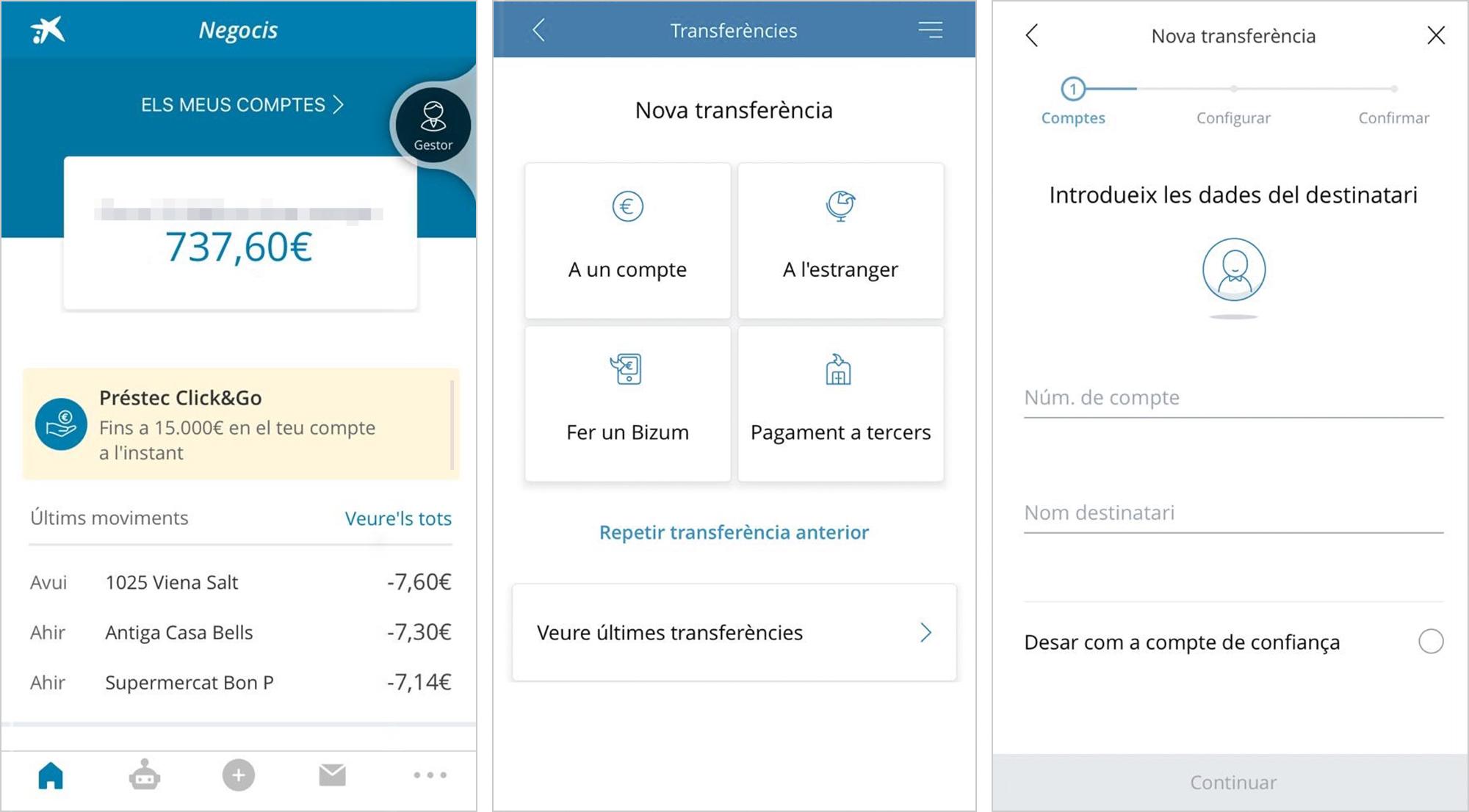Скриншот приложения CaixaBank с сальдо, последними движениями на счете и вид страницы дляденежного перевода