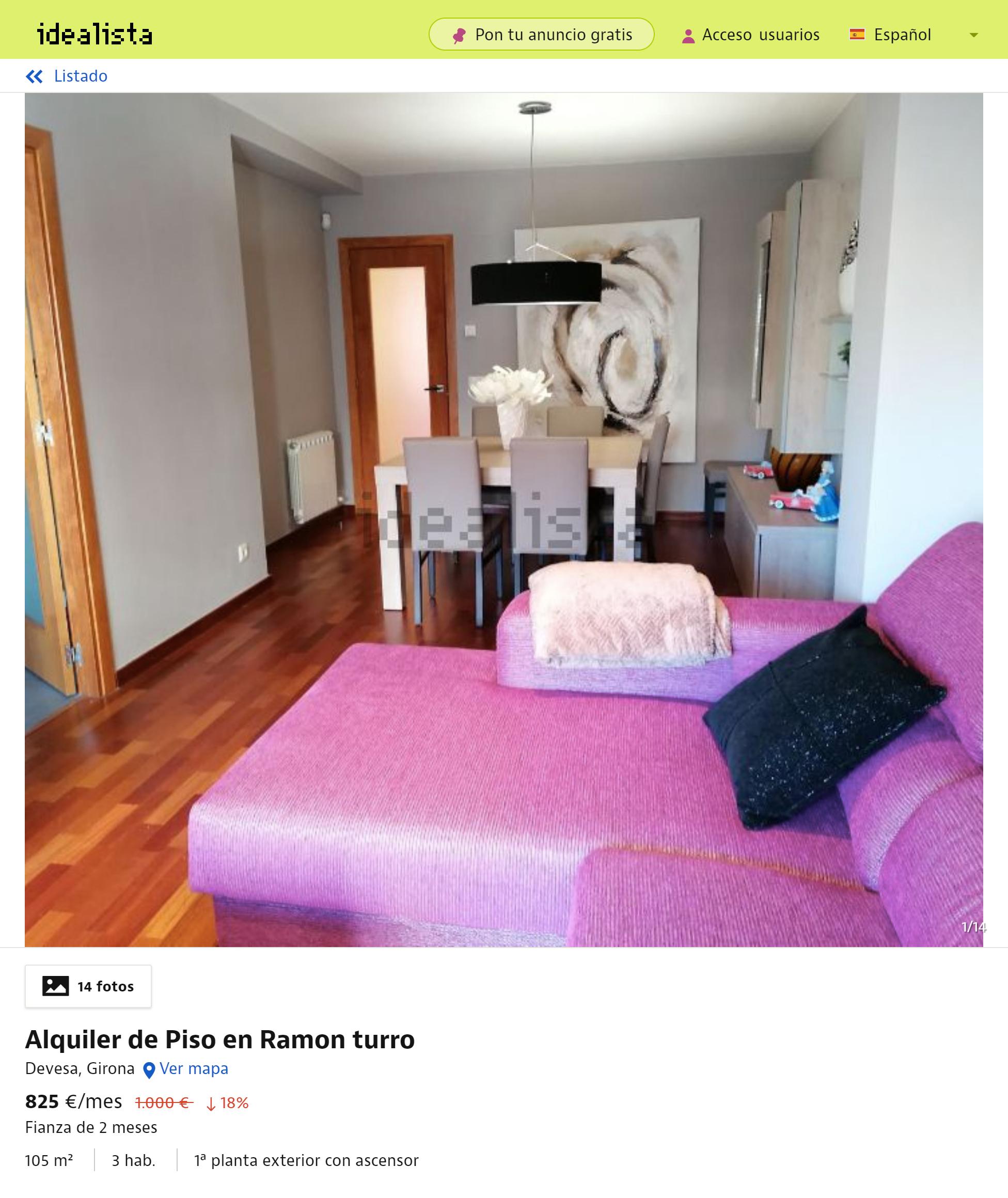 Квартира с тремя спальнями, обставленная дизайнерской мебелью, площадью 84м², с просторным патио в районе парка «Девеса» — 1000€ в месяц