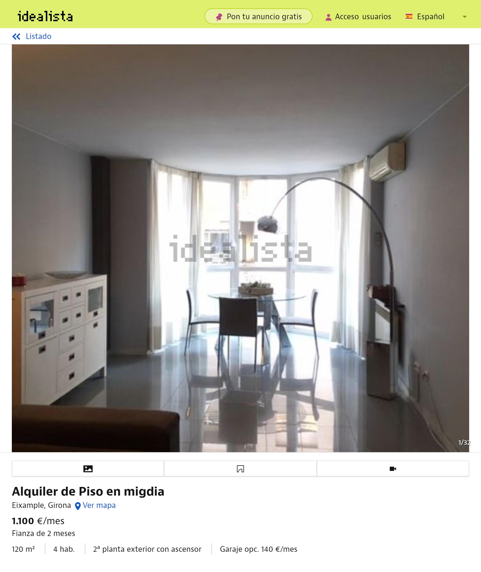 Квартира в районе Pedret площадью 91м² с тремя спальнями — 700€ в месяц. Гараж включен в стоимость. Хозяева требуют залог за полгода