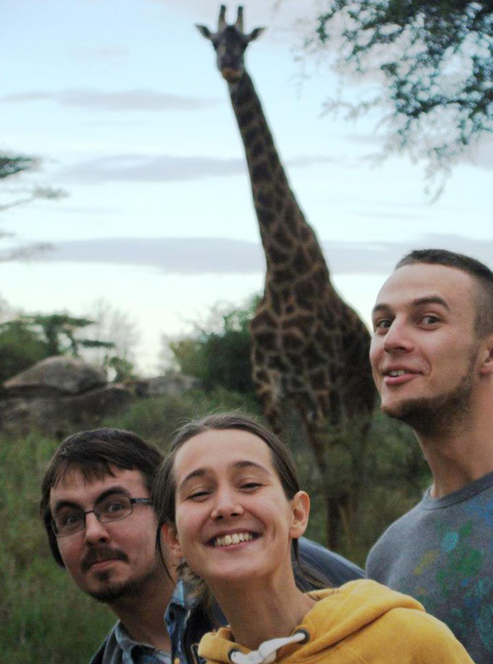Жираф вкемпинге посреди Серенгети. Мыстарательно тянем шеи, чтобы нанего походить, ажираф выглядит заинтересованным. Между нами иимвсего метров 10—15 иникакой ограды. Тогда яузнала, чтожирафы очень доброжелательны и не опасны. Всеравно быть такблизко страшновато
