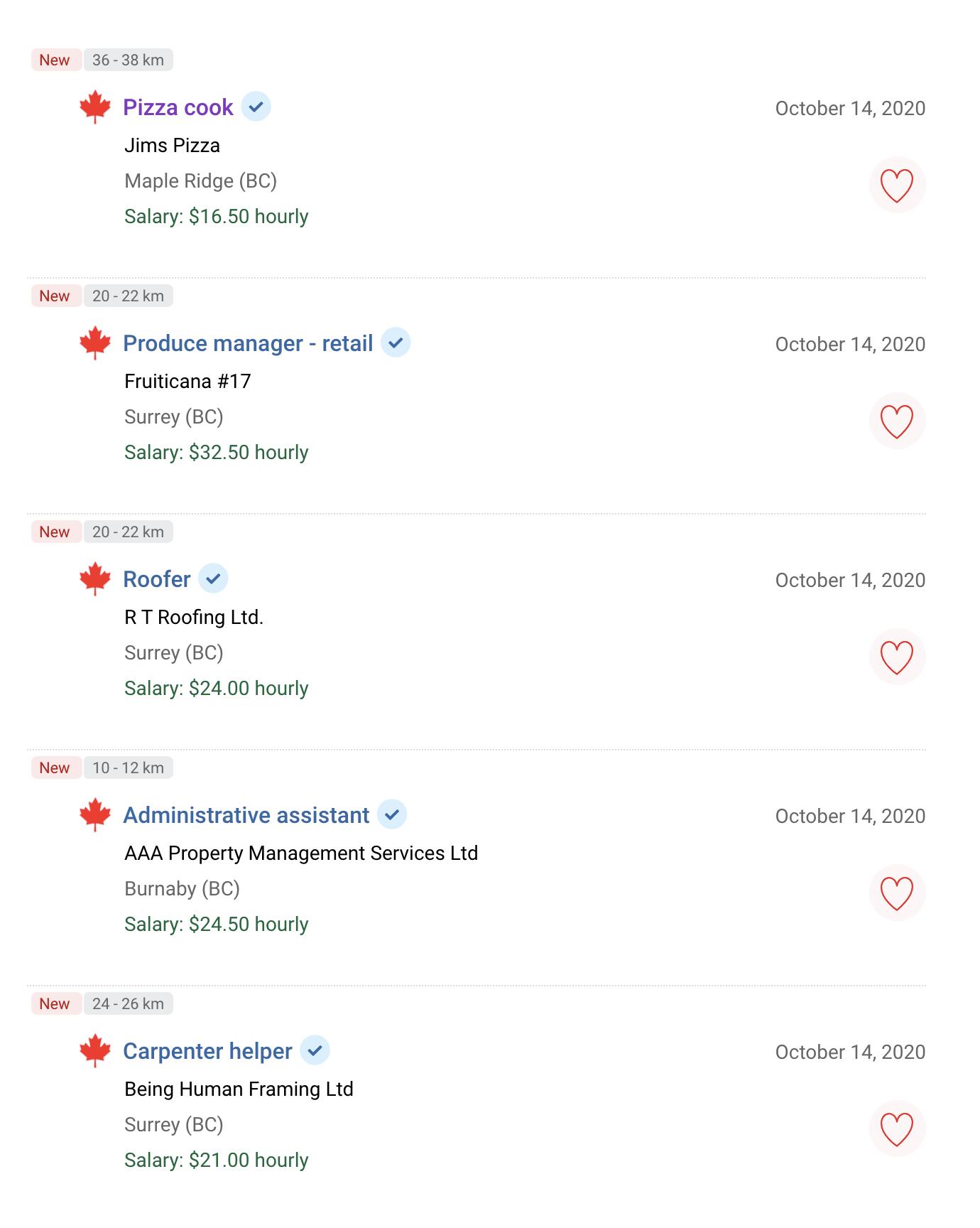 Примеры вакансий в Ванкувере на сайте Jobbank — для большинства вакансий указана почасовая зарплата