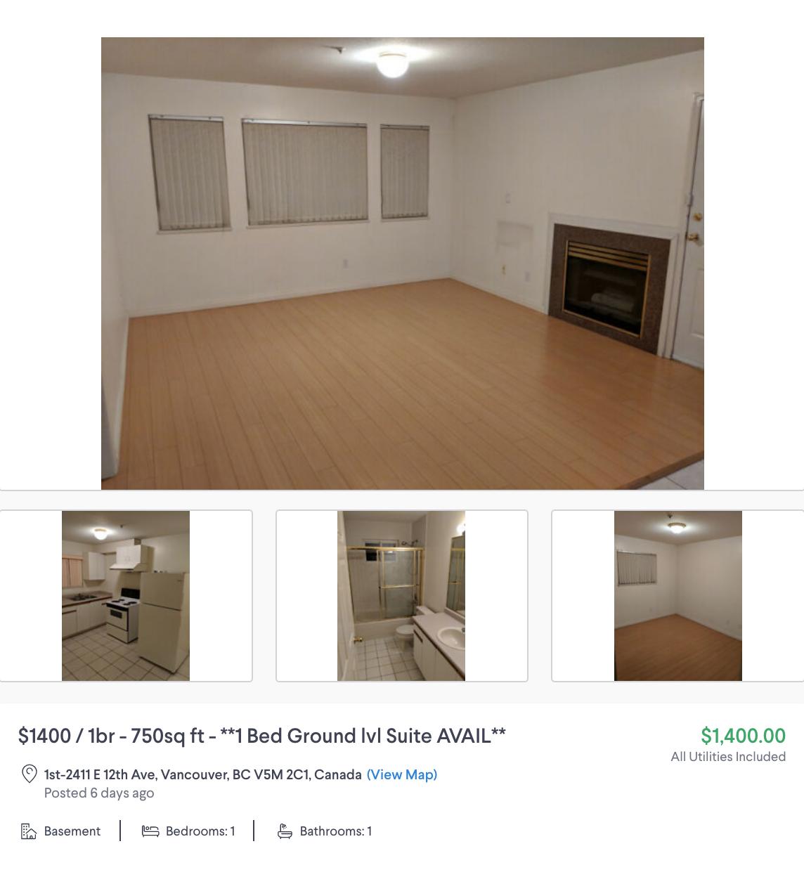 Аренда бейсмента площадью 70&nbsp;м² с одной спальней недалеко от центра стоит 1400&nbsp;CAD (79&nbsp;800&nbsp;<span class=ruble>Р</span>) в месяц