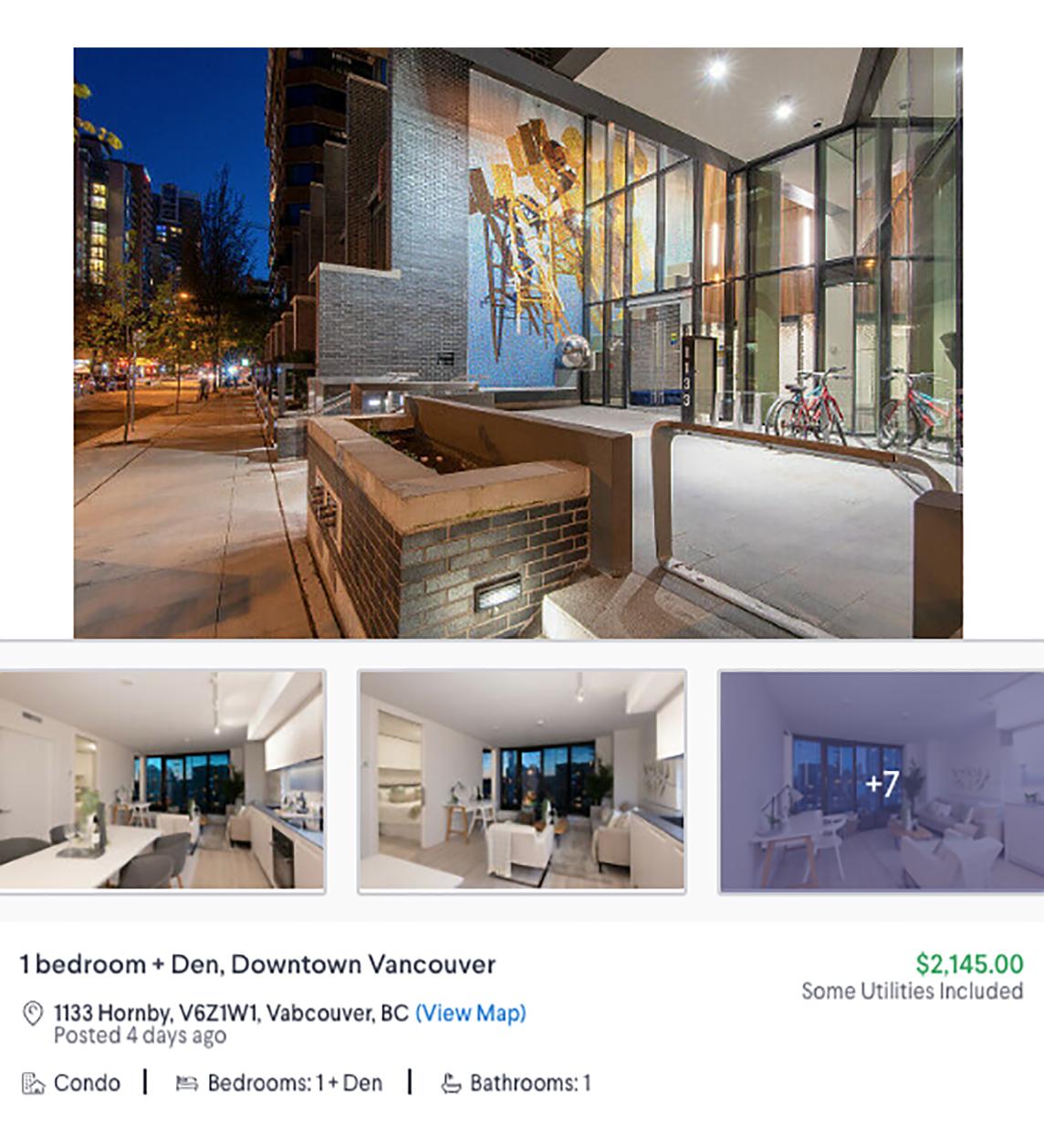 Однокомнатная квартира в кондоминиуме за 2145&nbsp;CAD (122&nbsp;265&nbsp;<span class=ruble>Р</span>). В ней оборудована кухня, но больше никакой мебели нет