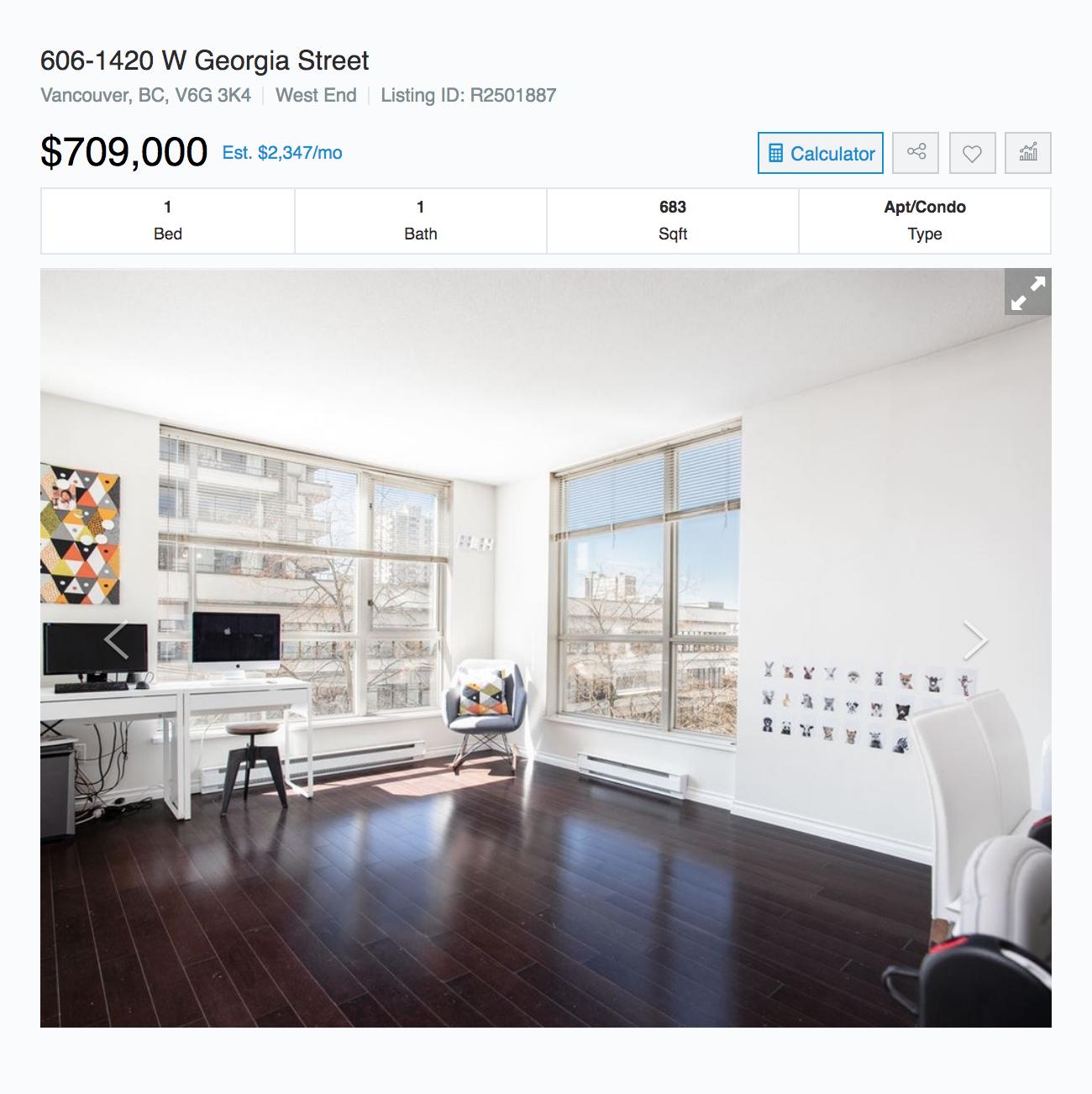 Однокомнатная квартира площадью 63&nbsp;м² в районе Вест-Энд в пяти минутах от океана продается за 709 000&nbsp;CAD (40 413 000&nbsp;<span class=ruble>Р</span>)