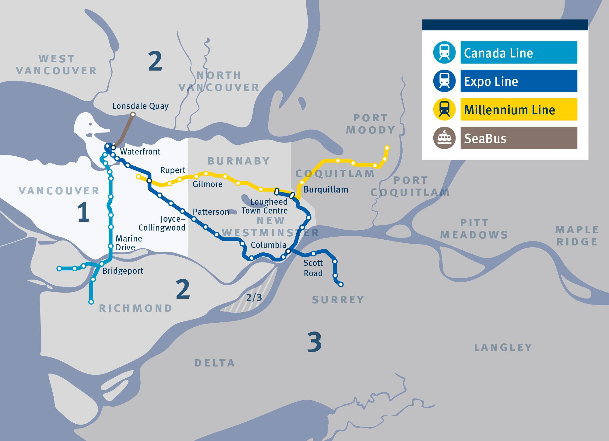 Тарифные зоны общественного транспорта в Ванкувере и его основные маршруты
