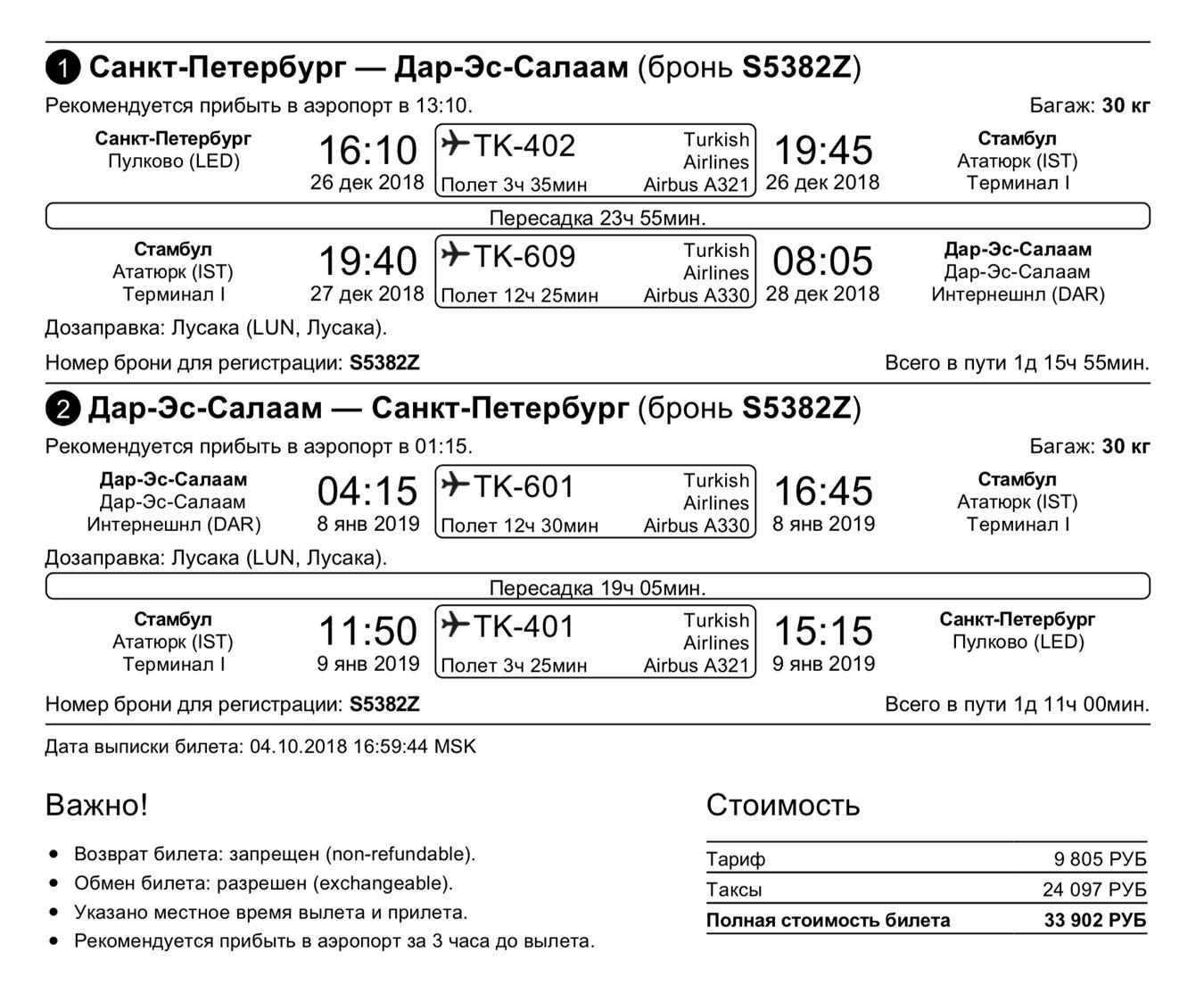 Мой билет до Дар-эс-Салама