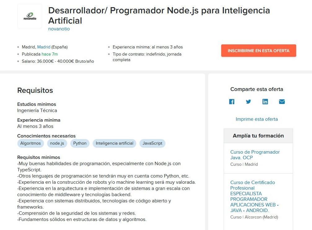 Консалтинговая компания ищет разработчика Node.js на проект в области искусственного интеллекта. Кандидат должен иметь высшее инженерное образование и трехлетний опыт работы. Платить обещают от 36 000 до 40 000€ в год — это от 2257,5 до 2474,7€ на руки в месяц