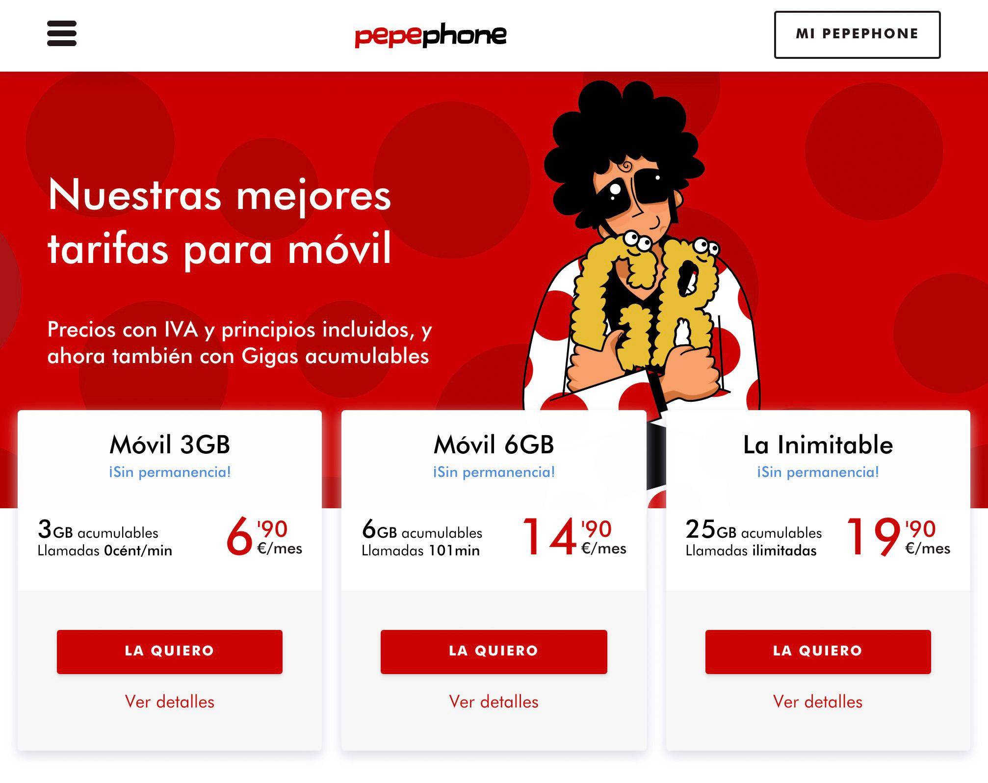 Тарифы моего мобильного оператора Pepephone. Я плачу 20€ в месяц