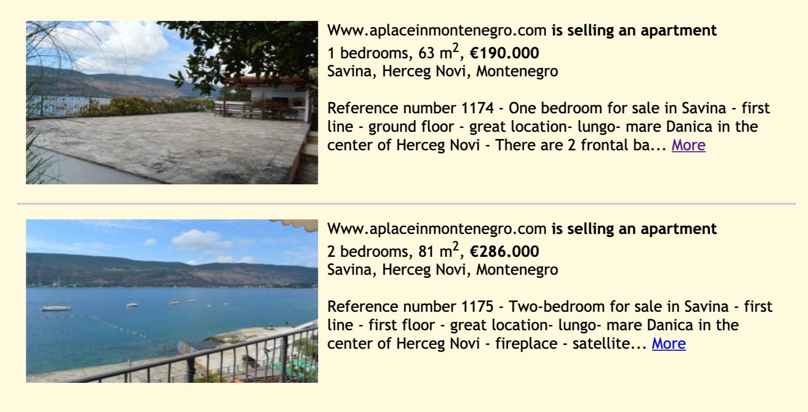 Предложения о продаже квартир с сайта realitica.com