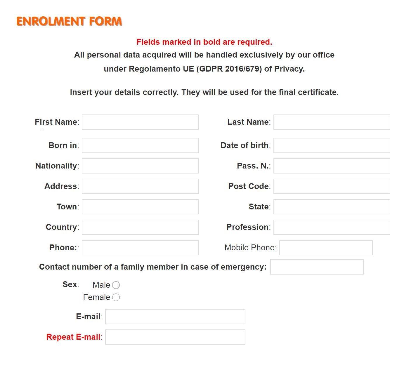 Так выглядит Enrolment form, которую нужно заполнить студенту