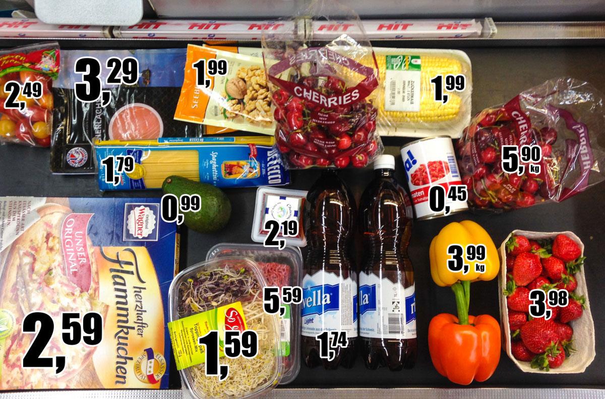 Случайный набор продуктов из супермаркета «Хит» средней ценовой категории