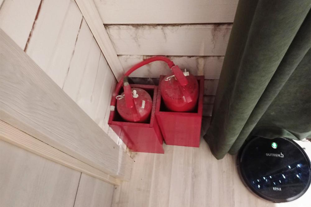 В моем доме шесть углекислотных огнетушителей, расставленных поразным углам