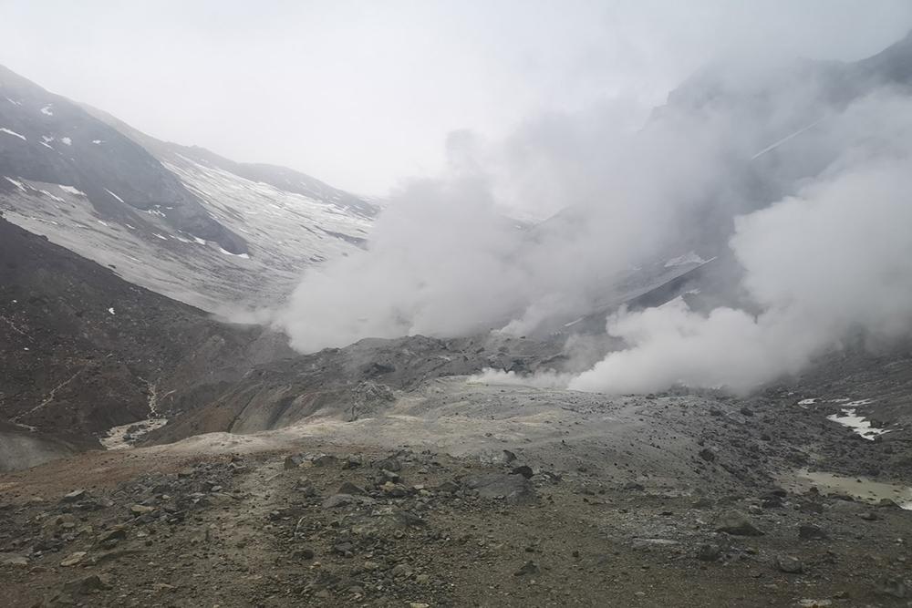 Фумаролы на Мутновском вулкане. У них сернистый пар с запахом тухлых яиц