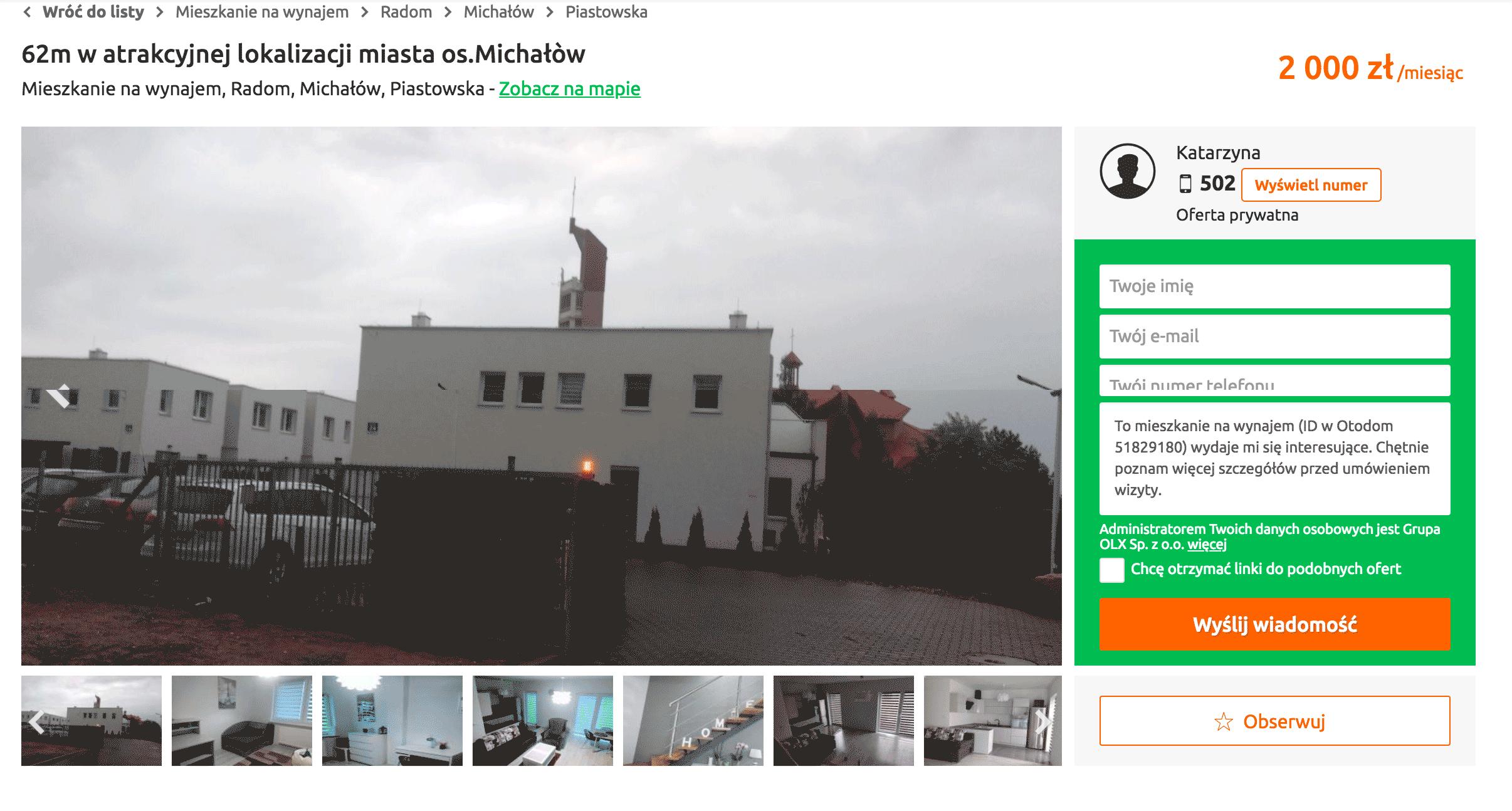 Один из основных сайтов аренды и продажи недвижимости Otodom.pl