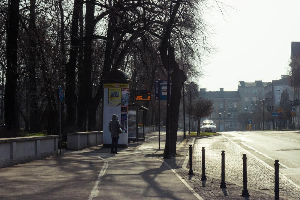 Автобусная остановка возле парка