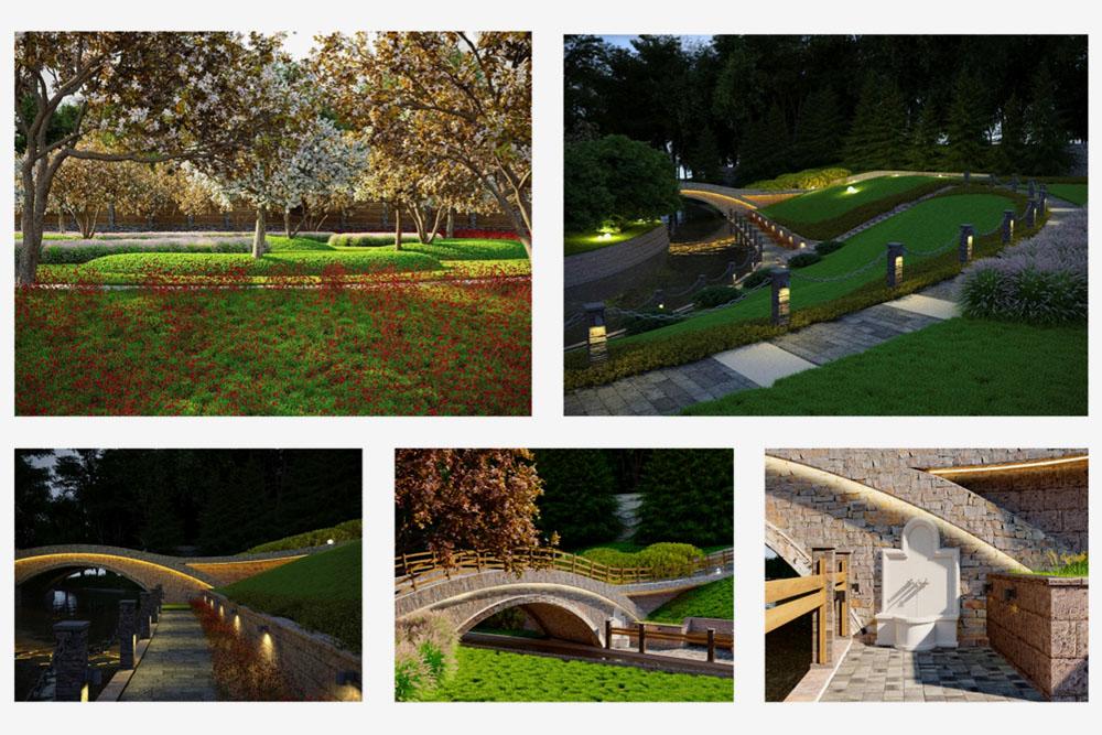 Визуализация проекта: яблоневый сад, дорожки и мосты