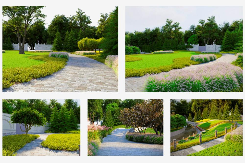 Архитекторы выбрали сдержанный ассортимент растений: помимо яблонь это мискантус, гортензии, астильбы и пахизандра