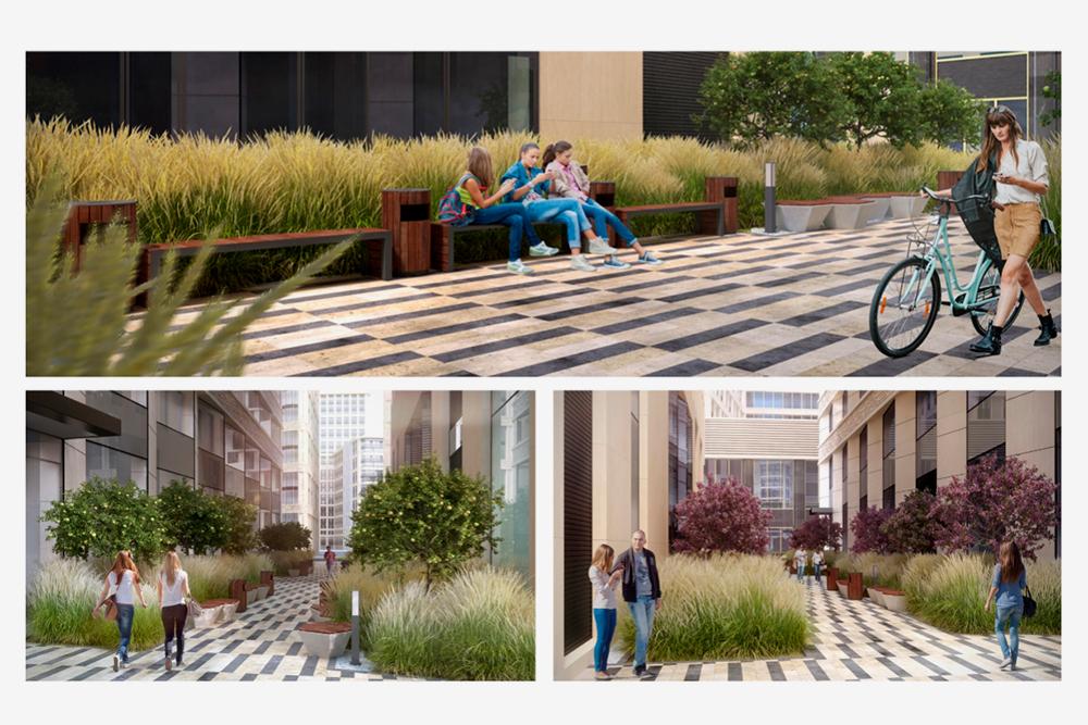 Вдоль зоны отдыха поставили парами друг напротив друга скамейки — чтобы сотрудники могли общаться. Лавки и урны выполнены с использованием тонированной сосны, металла и бетона