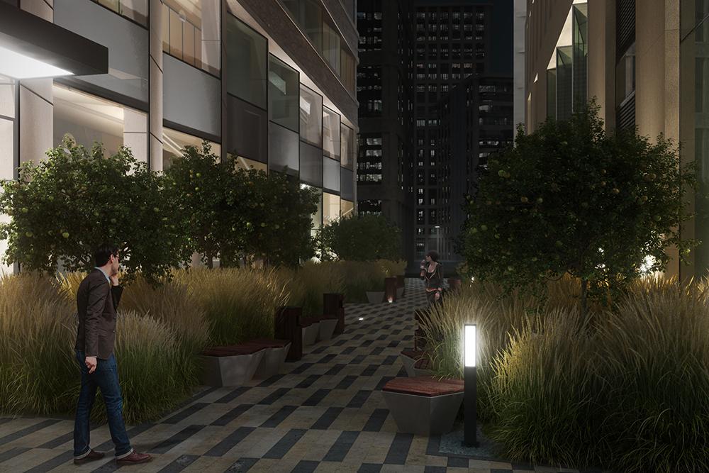 Бизнес-центр работает круглосуточно. Чтобы вечером пространство выглядело привлекательно, запланировали использовать декоративную подсветку